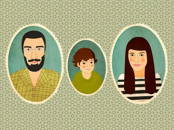 Custom portrait. Custom family portrait .Custom cartoon portrait. Portrait of a family of three person.