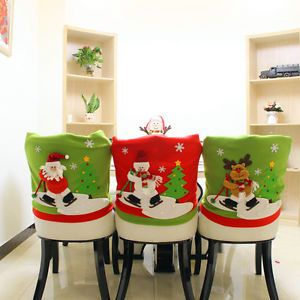Christmas Santa Hat Chair Back Cover Snowman Elk Dinner Table Party Home Decor