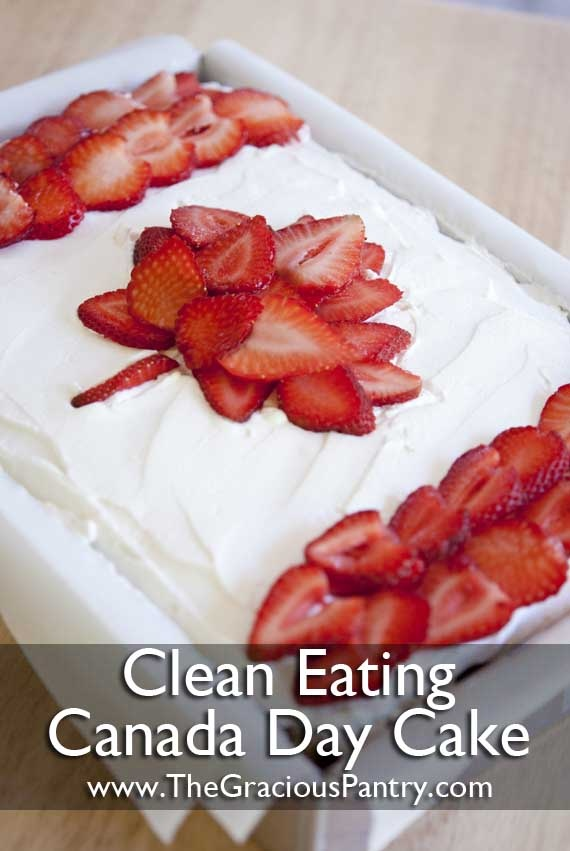 Clean Eating Canada Day Cake - totally turning this into a Christmas cake... with pomegranates and strawberries! (since strawberries aren't in season now)