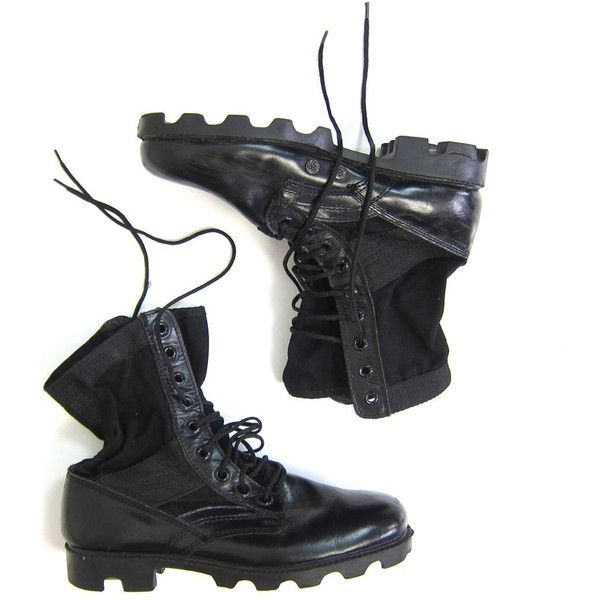 Black Canvas Leather Combat Boots Mens Army Military 80s Work Boots... (5265 RSD) ❤ liked on Polyvore featuring men's fashion, men's shoes, men's boots, mens black combat boots, mens shoes, mens tall boots, mens tall leather boots and mens work boots