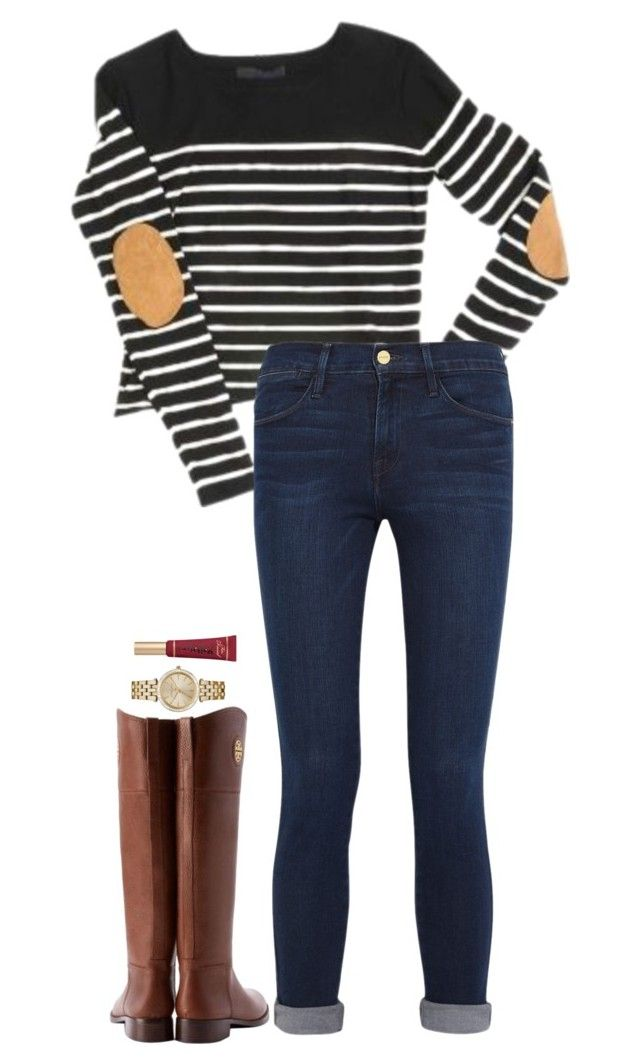 """Christmas Eve day outfit"" by sassy-and-southern ❤ liked on Polyvore featuring Frame Denim, Tory Burch, MICHAEL Michael Kors and sassysouthernwinter"