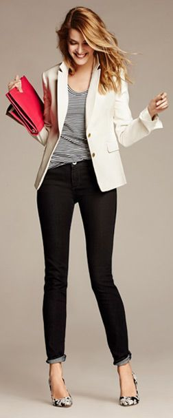 Short swing coat, Striped top & Black Jeans - Banana Republic - fall long dresses, women's long party dresses, gown dress *ad