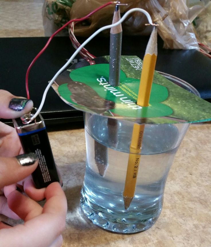 Junior Girl Scout Get Moving Energy Journey STEM, Brownie Water Journey stem. 2 double sided sharpened pencils, salt water. 9 volt battery and electrical wire (18). Connect as seen in pic and watch the water bubble off the pencil tip in the water. Awesome for the girls!