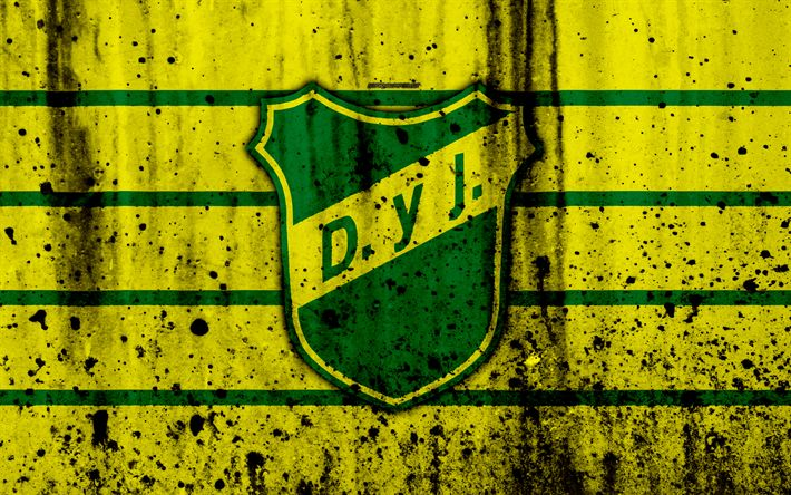 Download wallpapers 4k, FC Defensa y Justicia, grunge, Superliga, soccer, Argentina, logo, Defensa y Justicia, football club, stone texture, Defensa y Justicia FC