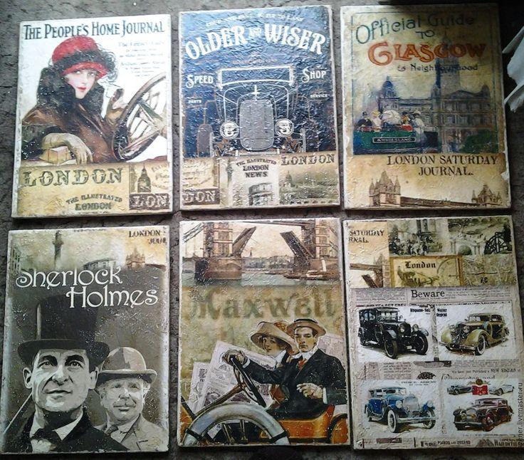 Купить Комплект из 6 деревянных состаренных панно_АНГЛИЯ_ЛОНДОН - комбинированный, комплект, английский стиль, американский винтаж