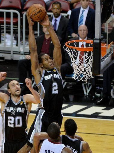 Kawhi Leonard with the monster dunk in gm.4 of the 2014 NBA Finals #Spurs #Heat