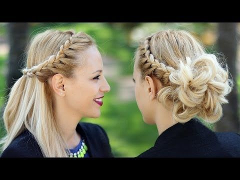 ▶ Braided prom updo + Half up half down hairstyle tutorial - YouTube