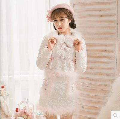 Princess sweet white Jacket Candy rain bow lace decoration embroidery Fur collar zipper Japanese design C16CD6213