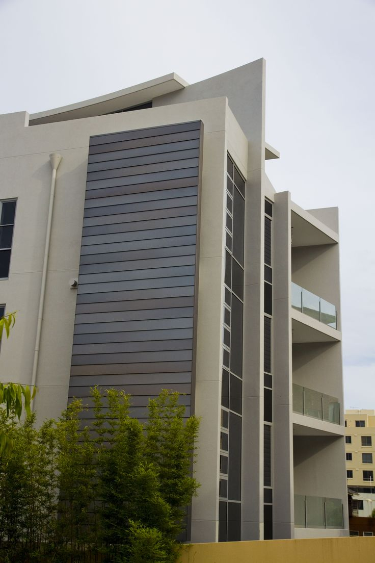 Stryum Facade Architecture - Here is our exterior facade system Step, used on a job we did in Wollongong! The silver anodised finish looks awesome.