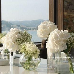 Mariage blanc - roses et hortensias