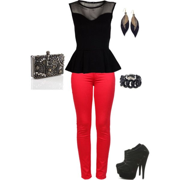 Outfits For A Saturday Night Out Red Jeans make for a perfect statement. Match this with a ...