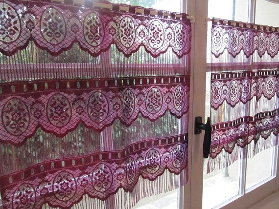 Lace Cafe Curtains, Aubergine Pair French Curtains, Floral Kitchen Curtains,  French Country Decor
