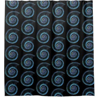 Blue Sea Shell Black Shower Curtain - black gifts unique cool diy customize personalize