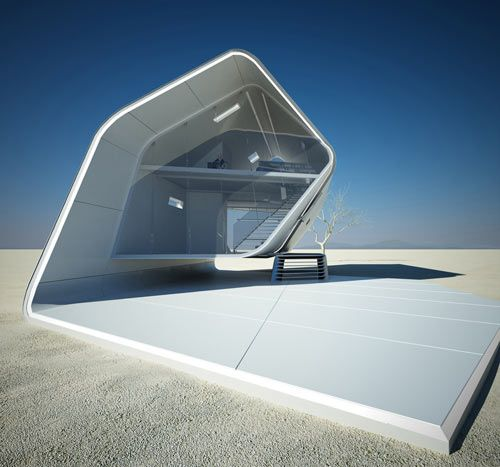 CALIFORNIA ROLL HOUSE BY CHRISTOPHER DANIEL  The California Roll House is a futuristic concept design for a prefabricated house that Christopher Daniel of Violent Volumes has created. The house was designed with a desert setting in mind with its exterior wrapped in an energy-efficient material that reflects heat from the sun. The house appears rolled to form a tube-like shape with glass on either end that is controlled electronically to change the transparency for privacy and light control.