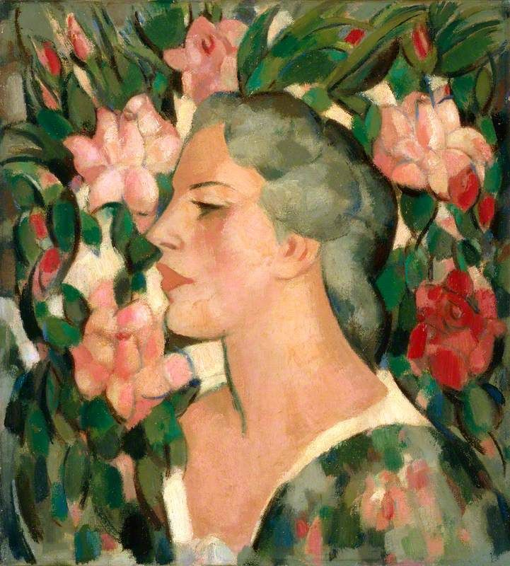 Head with Roses (Jean Brandt)  by John Duncan Fergusson (Scotland)