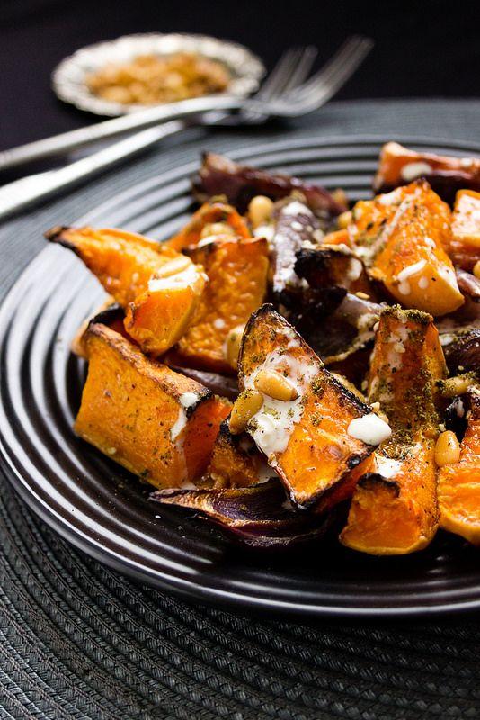 Roasted Butternut & Red Onions with Tahini Sauce & Za'atar