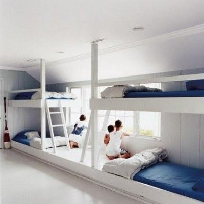 Inspiration for our own bunk room, although we have eaves to contend with! #bunkroom