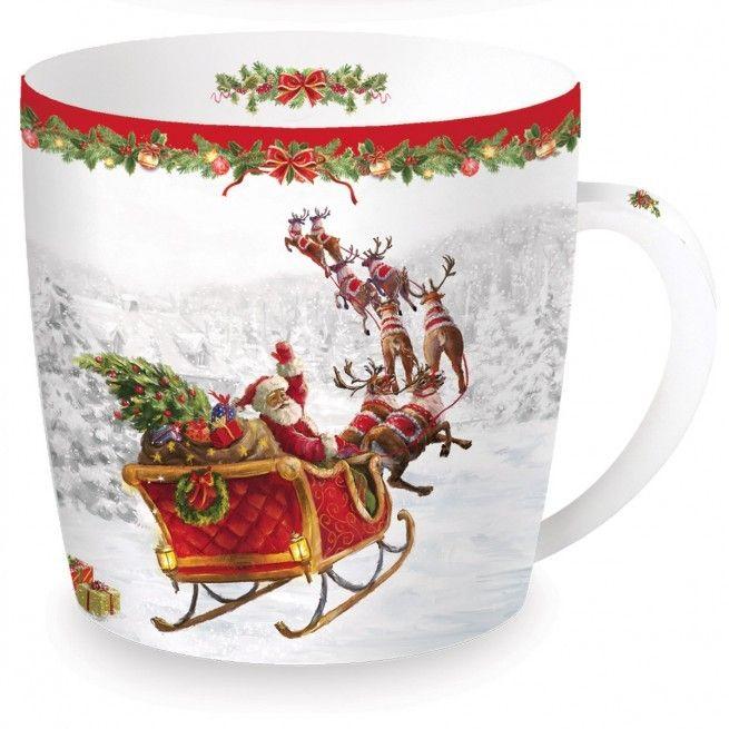 Εορταστική πρόταση για σας που τα Χριστούγεννα έχουν χρώμα. Κούπα Flying Santa από φίνα πορσελάνη σε μεταλλικό κουτί. Χωρητικότητα: 350ml