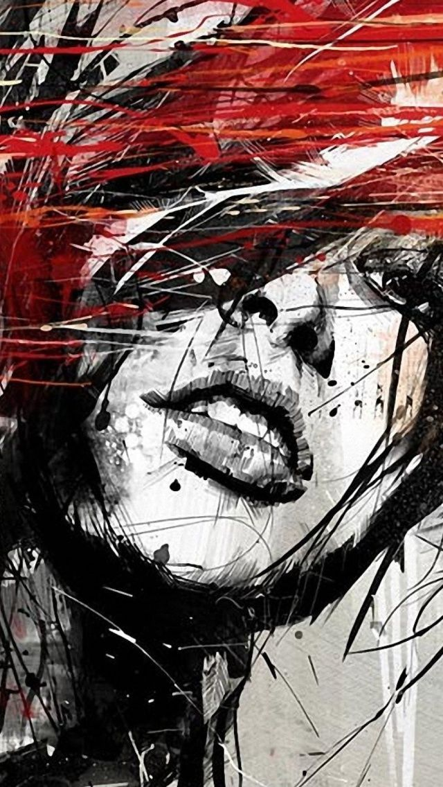 I Love The Black White With Red Accent This Is Amazing By Rus Mills Artwork In 2019 Painting Art