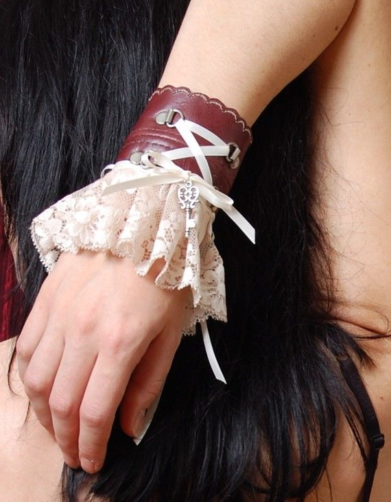 Salvaged Leather and Lace pirate Key Steampunk Wrist Cuff Not quite right but nearly