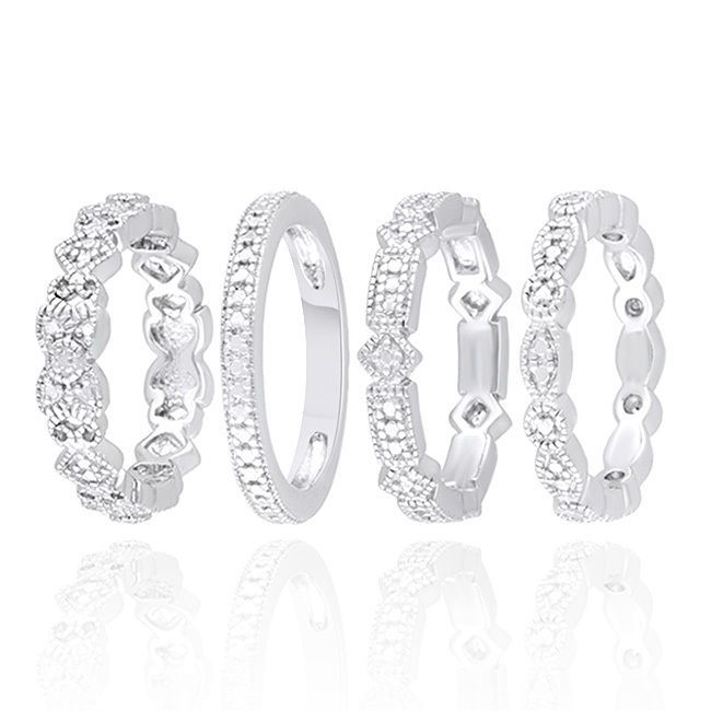 Round Cut Natural Diamond Accent In 925 Sterling Silver Stackable Band Ring Set #AffinityGold #Band