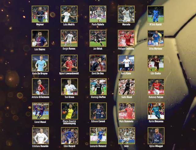 Daftar Nominasi Ballon d'Or 2017 (Pemain Terbaik Dunia) Lengkap