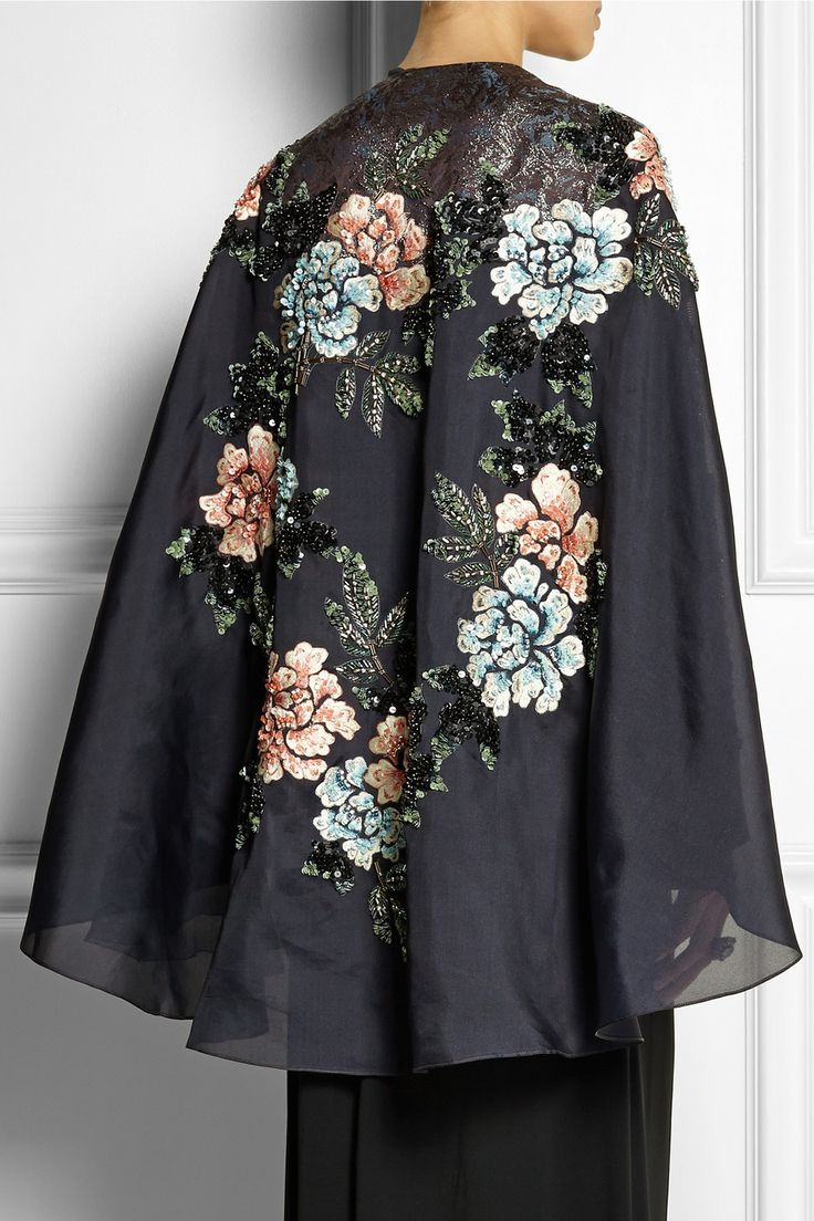 Biyan | Cana embellished embroidered silk-blend organza cape | £1,720