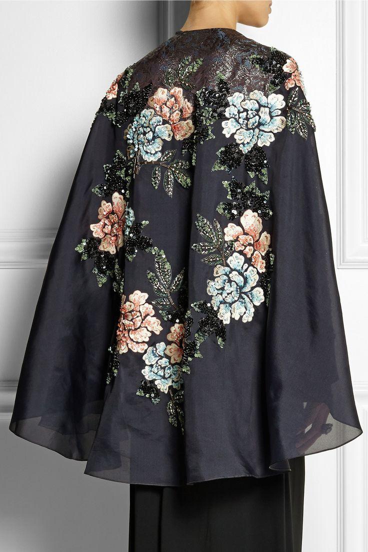 Biyan|Cana embellished embroidered silk-blend organza cape|£1,720