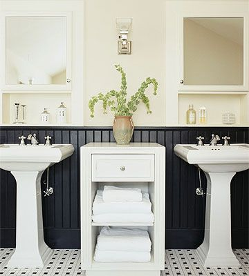 bathroom: black beadboard paint beadboard, instead of wall?? hmm..