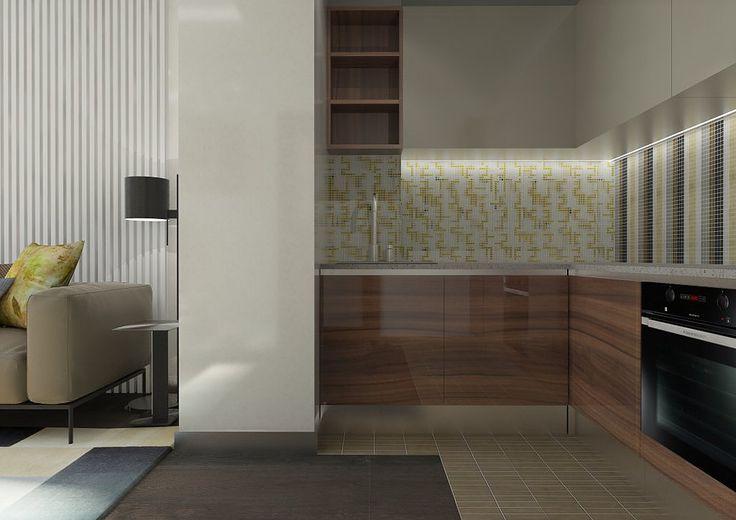Кухня, объединенная с гостиной, в современном стиле. На фото - дизайн угловой кухни. Нижние фасады - натуральный шпон американского ореха. Фартук кухни выложен мозаикой. На фронтальной стене - орнамент из вертикальных полос. На боковой стене - геометрический орнамент, выполненный в тех же цветах, что и орнамент на фронтальной стене.