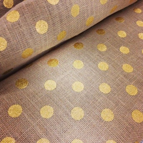 gold polka dotted burlap from Joann's Fabric... greatness