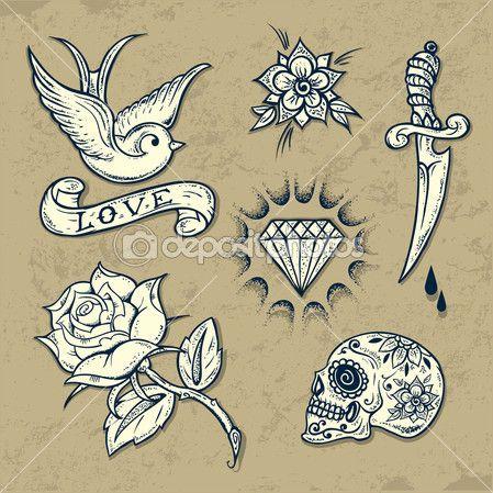 Set van oude school tatoeage elementen met rozen en diamanten