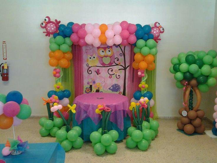 Buho decoracion en globos balloon decor - Decoracion con buhos ...