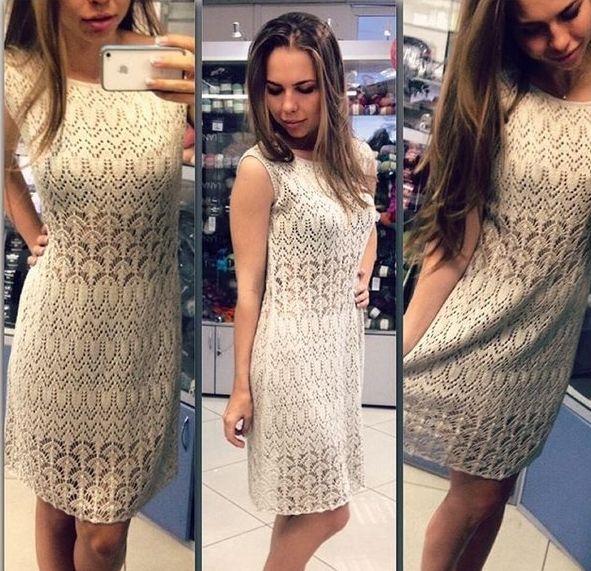 Стильное ажурное платье спицами. Ажурное платье спицами схемы (4506) Похожее