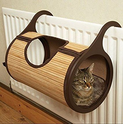 Cat Radiator Plush Bed - Made From Bamboo And Eco-Fibre - Fits Most Type Of Radiators And Easily Attachable - Soft And Cosy Plush Cushion Inside
