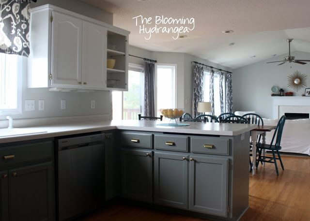 From oak to awesome painted gray and white kitchen for Grey and white kitchen cabinets