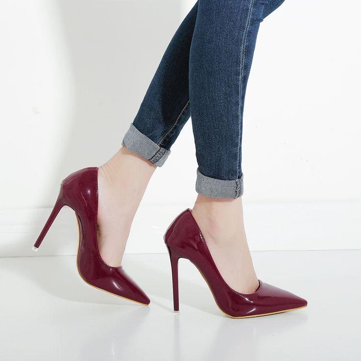 Hot OL Büro Dame Klassiker Frauen Sexy Stiletto High Heels Pumps schuhe  Spitz Schuhe Rot Schwarz