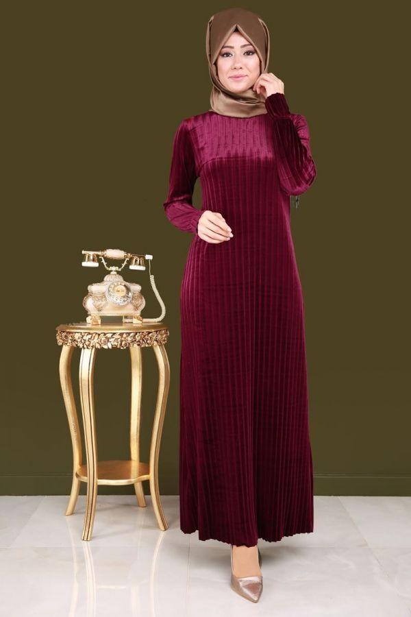 Piliseli Tesettür Kadife Elbise Şarabi Ürün kodu: MDP4041 --> 69.90 TL