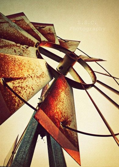 Old Windmill Photo Rustic Country Photo Rusty by SSCphotography