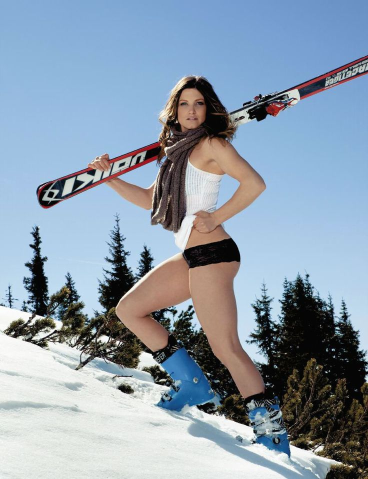 Ice maidens ski instructors peel off their thermals for raunchy calendar shoot in the snow