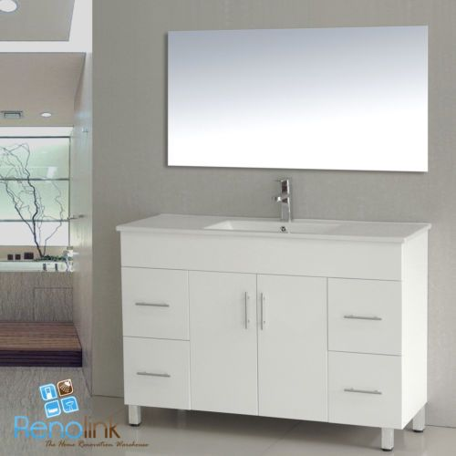 AVALON 1200mm BATHROOM VANITY WHITE GLOSS POLY CERAMIC BASIN (LEGS) in Home & Garden, Building Materials & DIY, Plumbing & Fixtures | eBay