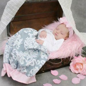 Excited to share the latest addition to my #etsy shop: baby girl gown, going home outfit, infant gown, newborn gown, layette, baby gown, pink gray, ruffle bottom gown, baby girl shower gift set http://etsy.me/2FdPKRi
