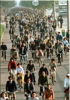 Chinese transportation has a lot of people riding bikes.