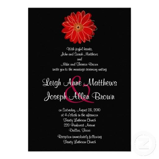 20 best black white and red wedding invitations images on pinterest elegant red gerber daisy wedding invitation stopboris Gallery
