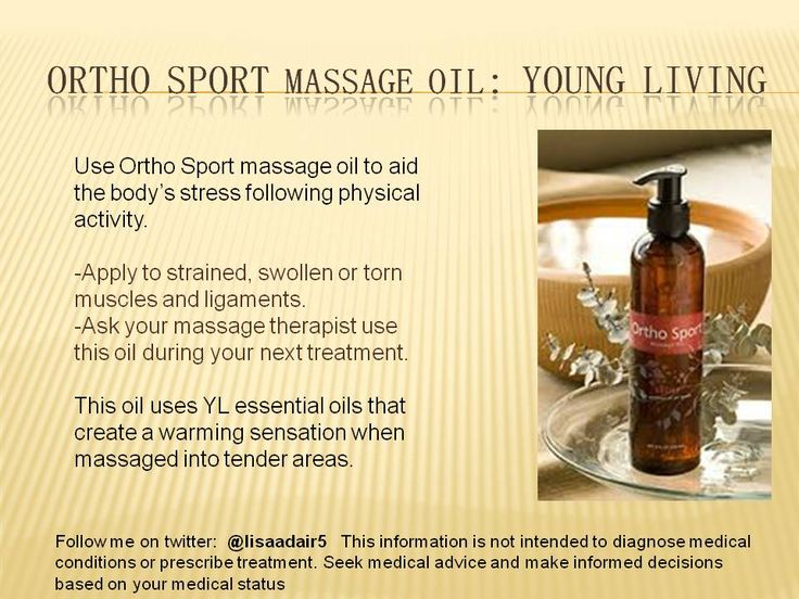 Young Living Ortho sport massage oil creates a warming sensation that eases the stress and strain on sore muscles. Apply to tender areas or ask your Massage Therapist to use it during your next massage. Get your products at wholesale prices at www.youngliving.org/lisaadair