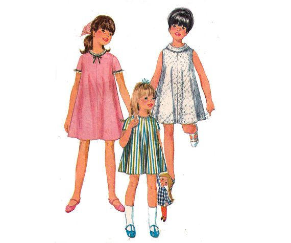 60s Girls tent Dress Pattern Simplicity by allthepreciousthings