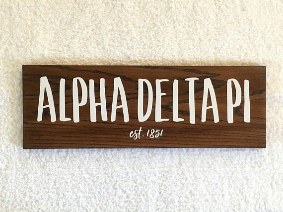Alpha Delta Pi Wooden Sign ADPi Sorority Gift Sorority Wall Decor, Big Little Reveal, big little sorority, Sorority Crafts, only $30 on Etsy! Link in bio.