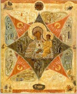 Старинная икона Неопалимая Купина