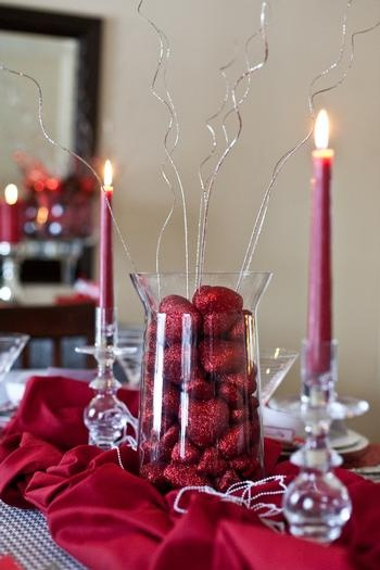 Valentine's Day Wedding Centerpieces - Use Christmas balls instead