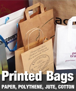 printed carrier bags paper and polythene